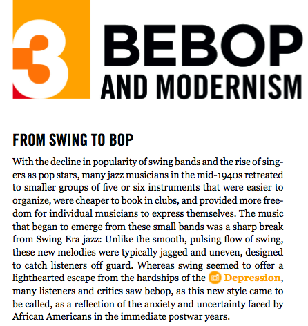 swing and bebop essay